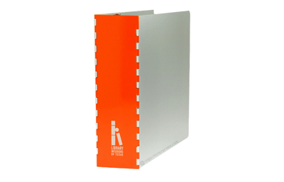 Aluminum binder cover with piano hinged spine and has a powder coated aluminum spine.