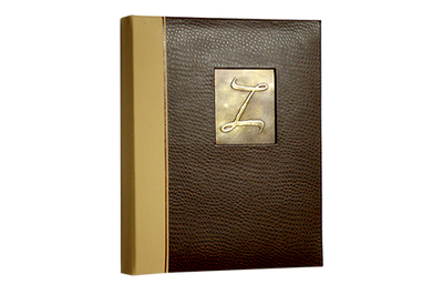 Rich brown baby ostrich faux leather binder with a light brown faux leather quarterbind spine.