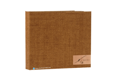 Rich medium brown faux grass cloth guest directory binder cover with an inlaid etched medallion.