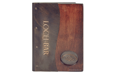 Mahogany stained alder wood  joined to dark copper menu cover.