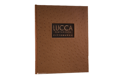 Recycled copper menu cover with natural dark copper finish.