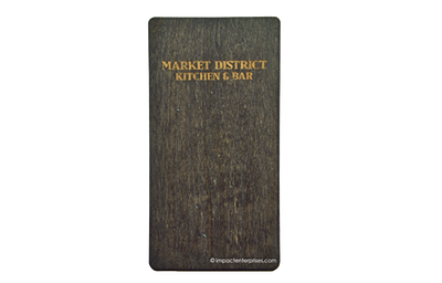 Solid wood with a distressed finish clipboard menu holder with an ebony stain and rounded corners.