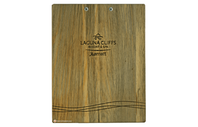Blue pine veneer wood clipboards with a low profile clip and laser-engraved artwork.