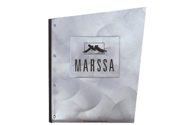 Aluminum binder cover with a butterfly design and black color-filled embossed artwork.