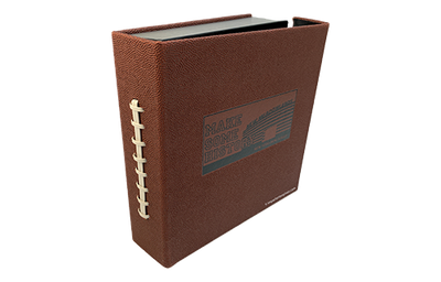 Football textured faux leather binder cover with lacing on the spine and black foil debossed logo.