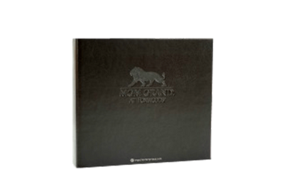Rich chocolate brown faux leather guest service directory cover with clean blind deboss.