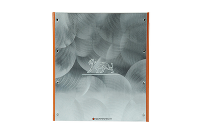 Aluminum binder with magnetic closure and embossed decoration.