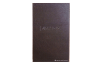 Deep brown distressed faux leather menu cover with clean and simple blind debossed artwork.