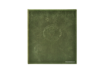 Green faux leather wine list cover has a distressed pattern and blind debossed artwork.