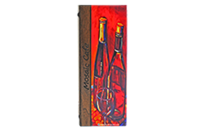 Solid walnut wine list cover with 4-color process artwork and laser-engraved artwork.