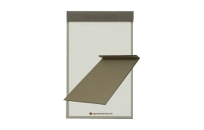 Deep brown faux leather single-panel menu cover with magnetic closure.