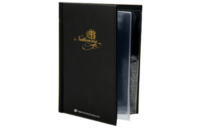 Black faux leather menu cover with foil debossed artwork and wire-o binding.