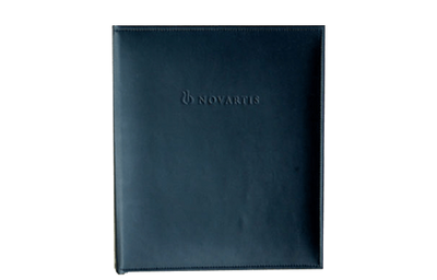 Smoothe black leather binder with sewn edges and blind debossed logo