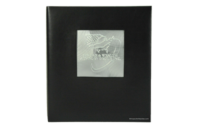 Black leather binder with large brushed aluminum plate united states logo in a cut out window