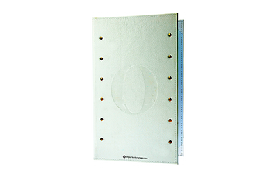 White genuine leather menu cover with brass rivets and blind debossed artwork.