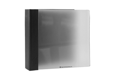Frosted acrylic binder with black leather spine
