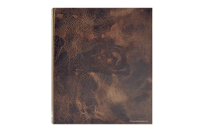 Dark brown leather textured menu with debossed logo