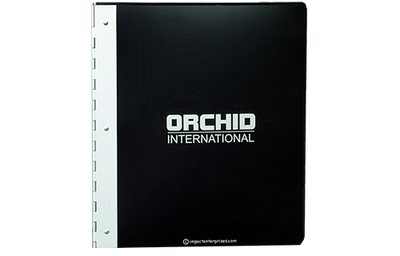 Black poly binder with aluminum hinge spine and white logo