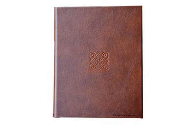 Brown leather binder with decorative debossed logo on front
