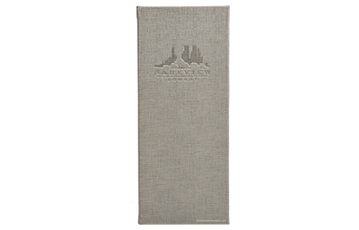 Thin grey leather menu with linen pattern and blind debossed logo