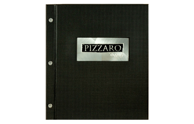 Black texture leather menu with silver screws on binding brushed aluminum plate with logo