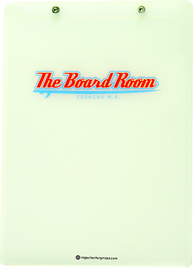Frosted poly menu cover with screws and logo on front
