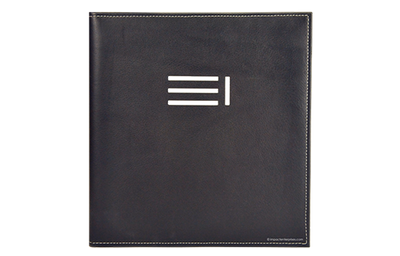 Black leather binder with white sewn edges foiled debossed logo 4 lines