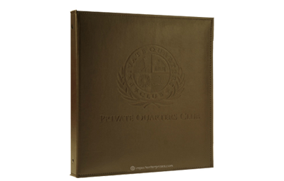 Brown leather binder with sewn edges and blind debossed logo