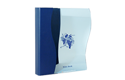 Tinted glass wine list cover with a blue leather spine and back cover.