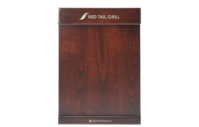 Classic mahogany stained wood menu cover with horizontal pocket bars.