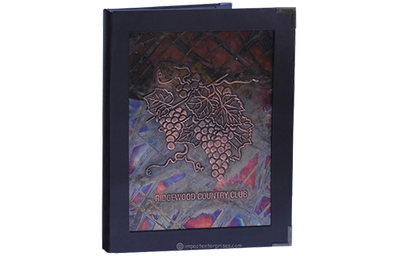 Mosaic patina copper menu cover framed with a deep rich brown faux leather.
