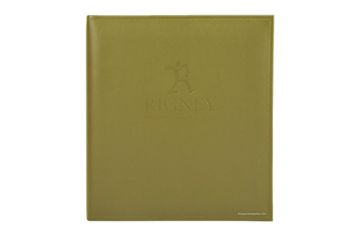 Gold leather binder with blind debossed logo and sewn edges