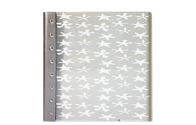 Frosted acrylic menu with silver leather spine and rivets with starfish