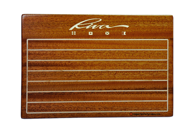 Solid mahogany menu cover with solid maple inlaid and laser-engraved logo.