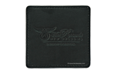 Black leather coaster with sewn edges and debossed logo