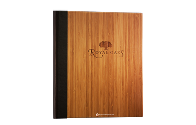 Dark bamboo menu cover with a rich brown faux leather quarterbind spine.