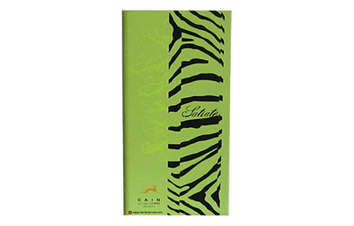 Lime green leather menu with black zebra strips