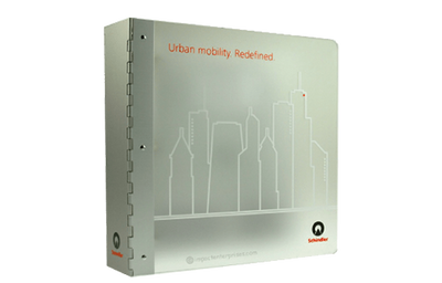 Frosted acrylic binder with solid aluminum spine with skyline outline