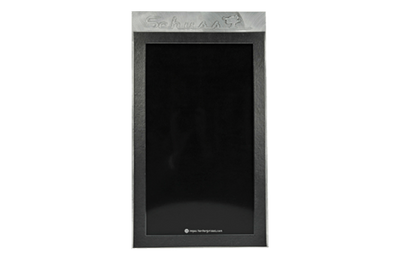 Black leather framed single panel menu with aluminum