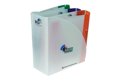 Frosted poly binders in a sleeve with color-coded spines