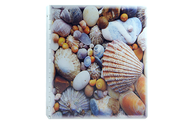 Solid metal binder with piano hinge and picture of sea shells