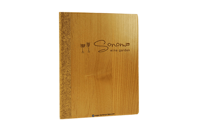 Wood front cover menu cover with a cork quarterbind spine and back cover.