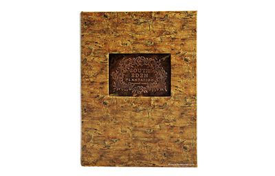 Custom tree root patterned cork iPad cover with an embossed artwork.