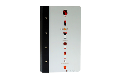 Aluminum decorated wine list cover with black faux leather quarterbind spine.