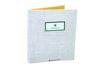 Soft white faux grasscloth binder with a 4-color process matte laminated graphic.