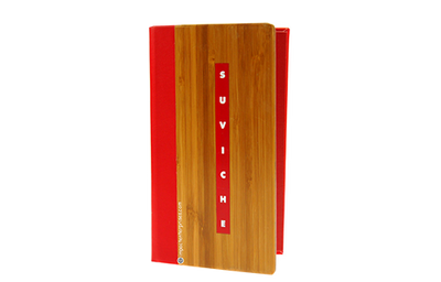 Dark bamboo menu with a bright red faux leather quarterbind spine.