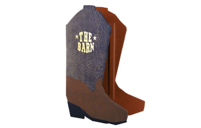 Distressed brown faux leather with a saddle colored faux leather and black faux leather menu cover in the shape of a cowboy boot with foil debossed artwork.