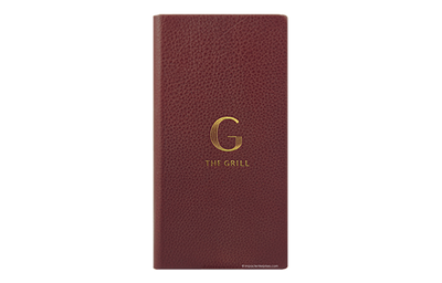 Brown leather menu with gold logo