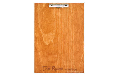 Budget wood clipboard with solid plywood menu board with a lever lock clip.