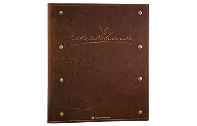 Brown distress leather menu with gold rivets on the side and blind debossed artwork